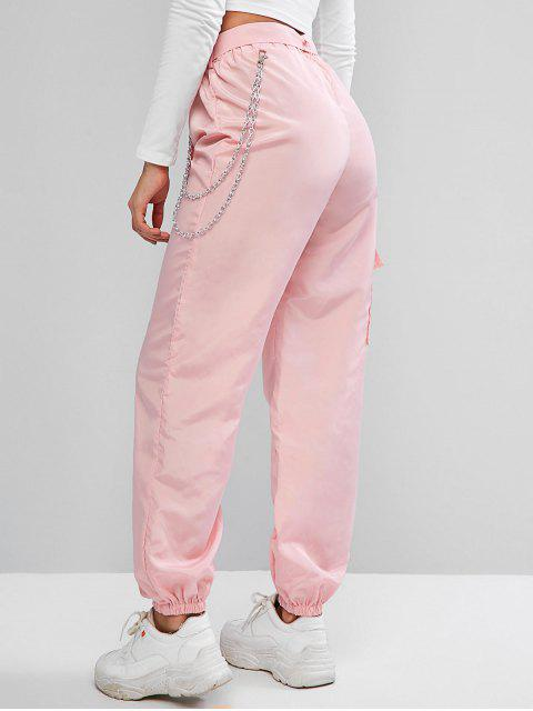 women's ZAFUL Chains Pocket Buckle Belt Windbreaker Jogger Pants - PIG PINK M Mobile