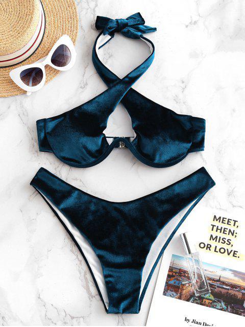 ZAFUL Maillot de Bain Bikini Croisé en Velours à Armature à Col Halter - Bleu Lapis L Mobile