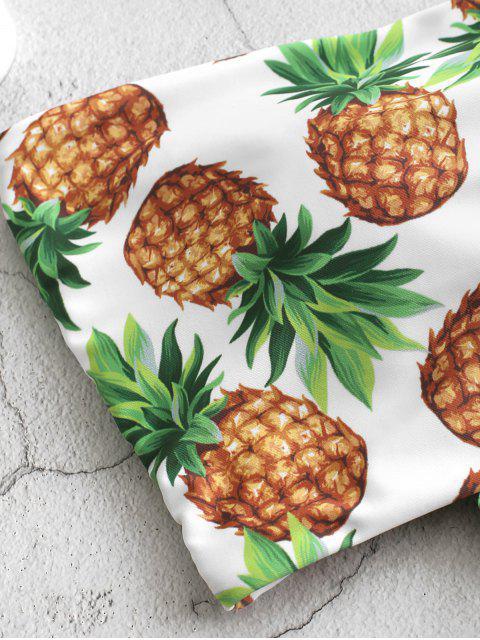 ZAFUL Maillot de Bain Tankini Bandeau Ananas à Volants à Lacets - Vert Camouflage L Mobile