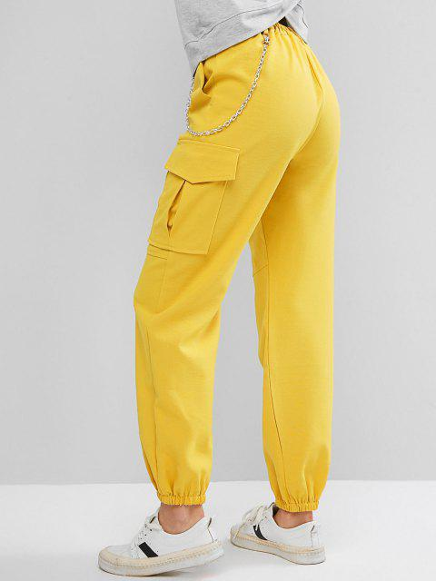 fancy Flap Pockets Chain Jogger Pants - YELLOW L Mobile