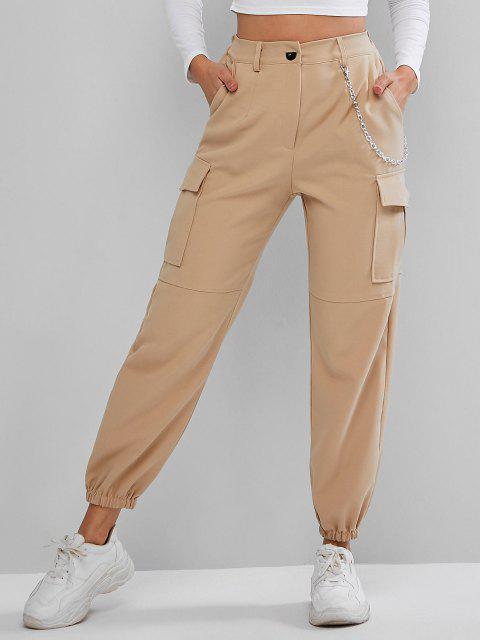 fashion Flap Pockets Chain Jogger Pants - LIGHT KHAKI L Mobile