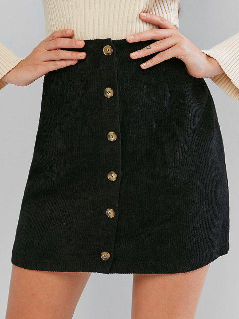unique ZAFUL Corduroy Button Fly High Rise Skirt - BLACK M Mobile