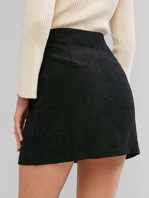 women's ZAFUL Corduroy Button Fly High Rise Skirt - BLACK S Mobile