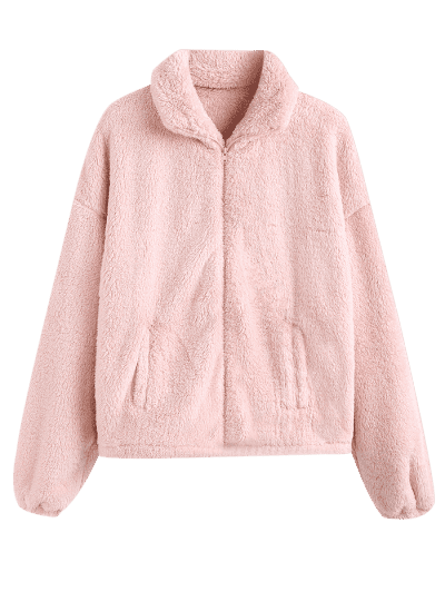 ZAFUL x Yasmine Bateman Solid Color Faux Fur Zip Up Jacket, Sakura pink