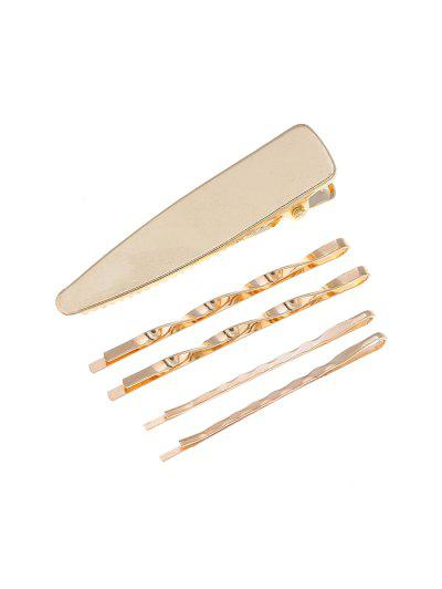 5Pcs Brief Metal Hair Pins Set - Gold