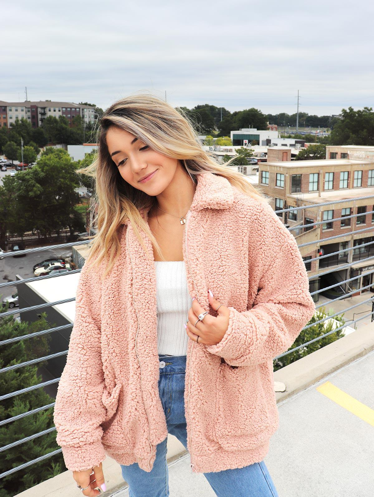 ZAFUL x Yasmine Bateman Pocket Zipper Drop Shoulder Fluffy Teddy Coat thumbnail