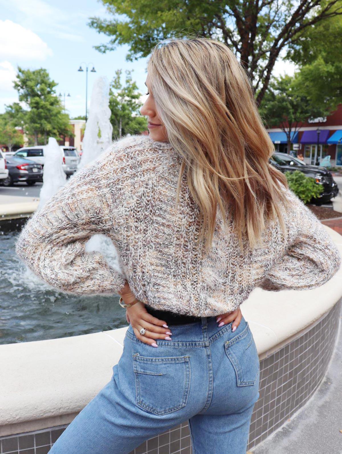 ZAFUL x Yasmine Bateman Heathered Cable Knit Chunky Sweater фото