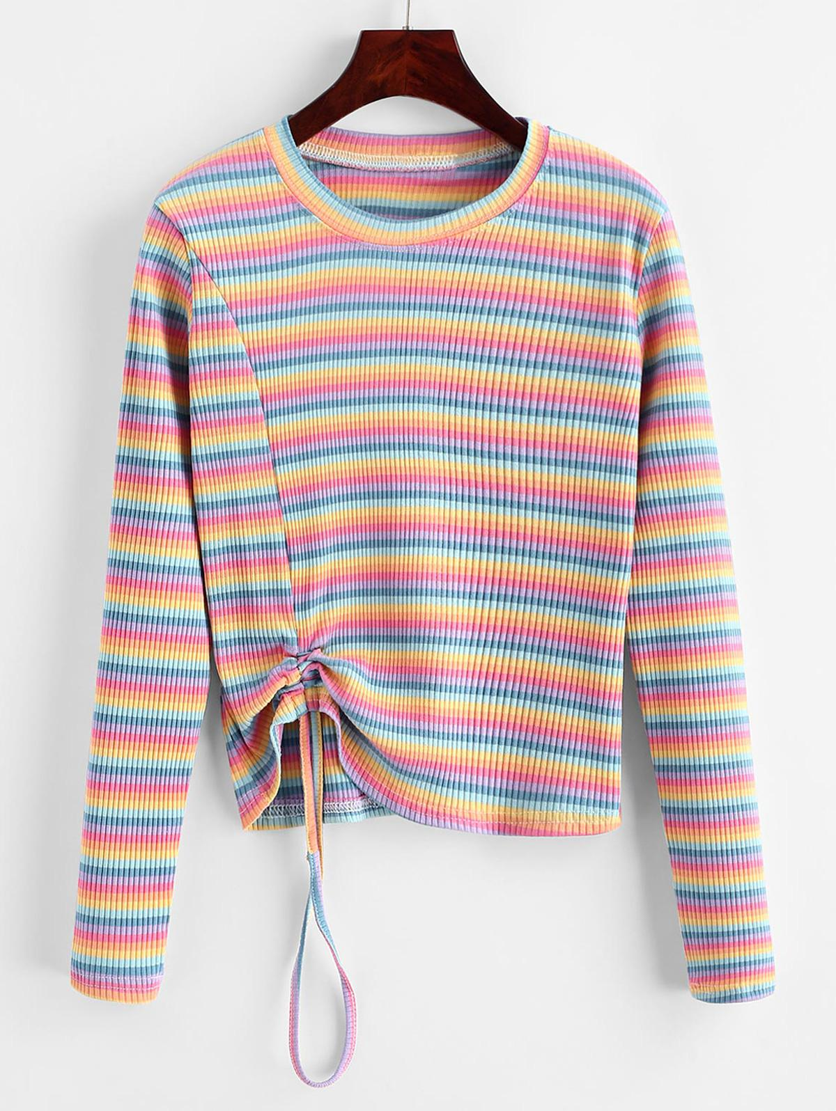 Multi-color Striped Cinched Long Sleeve Knitwear