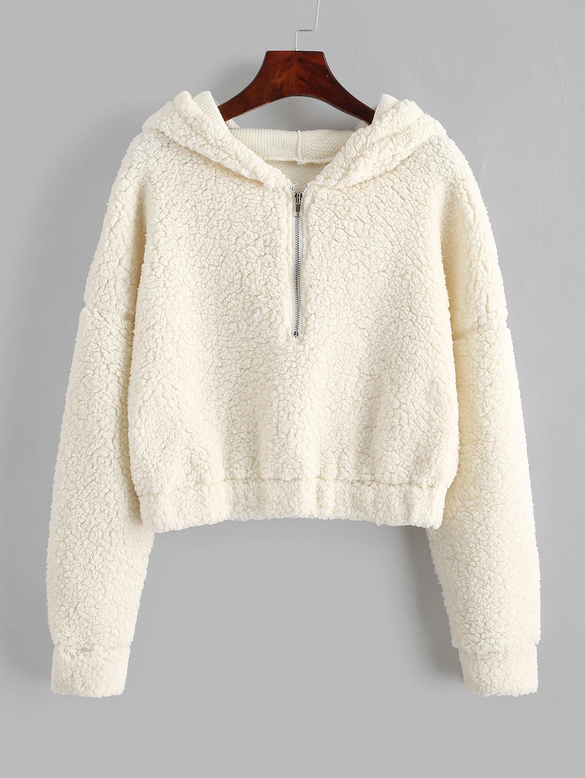 White Teddy Zip Up Sweatshirt