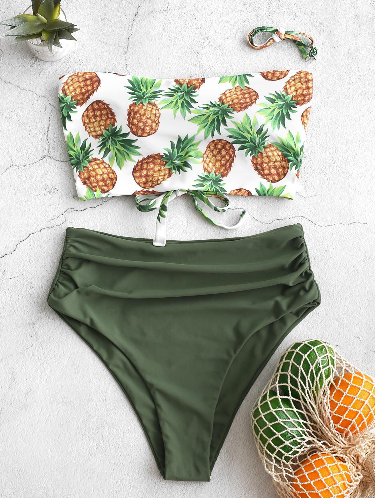 zaful Pineapple Ruched Bandeau Tankini Swimsuit