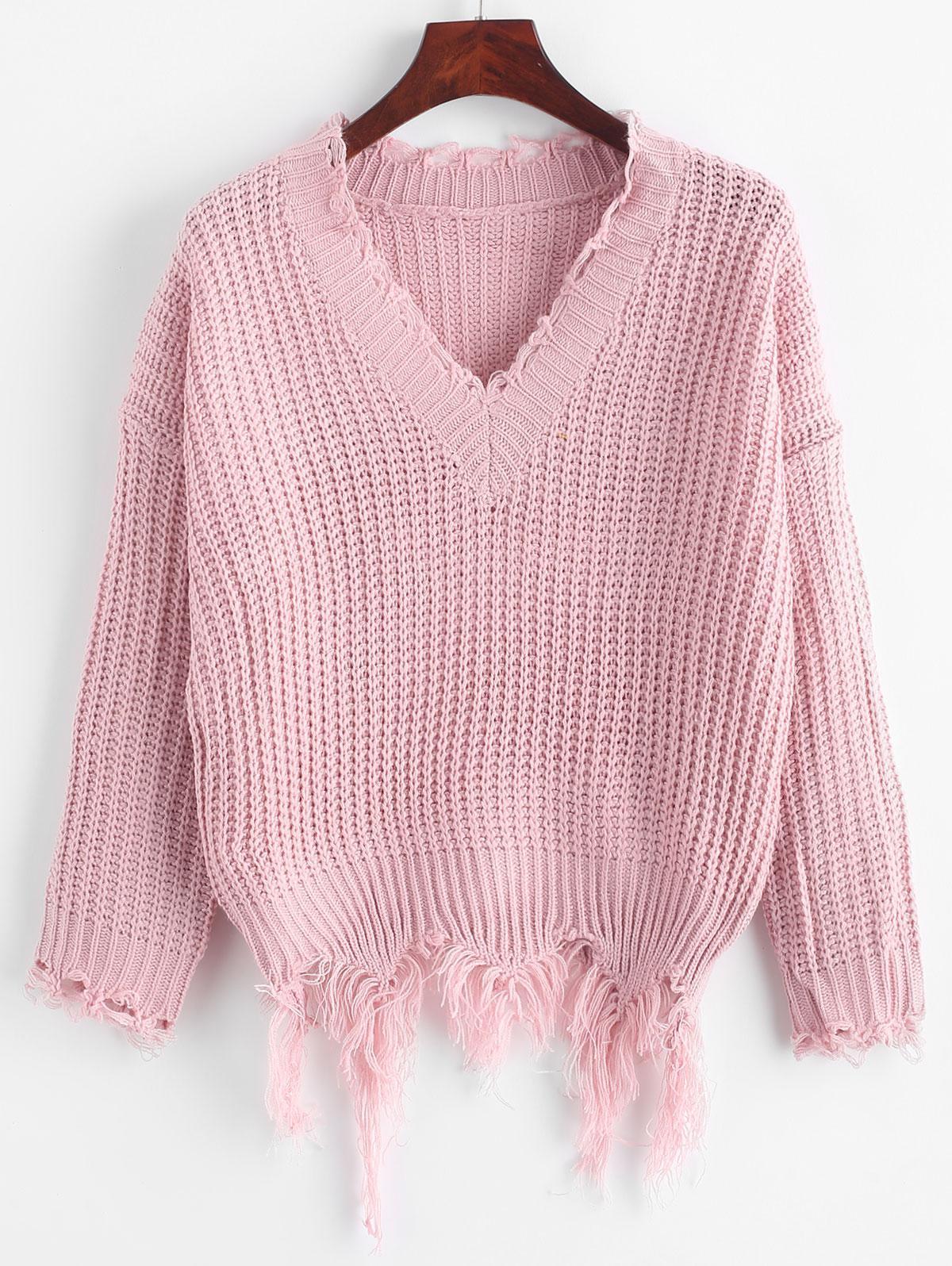 Ripped Drop Shoulder V Neck Sweater