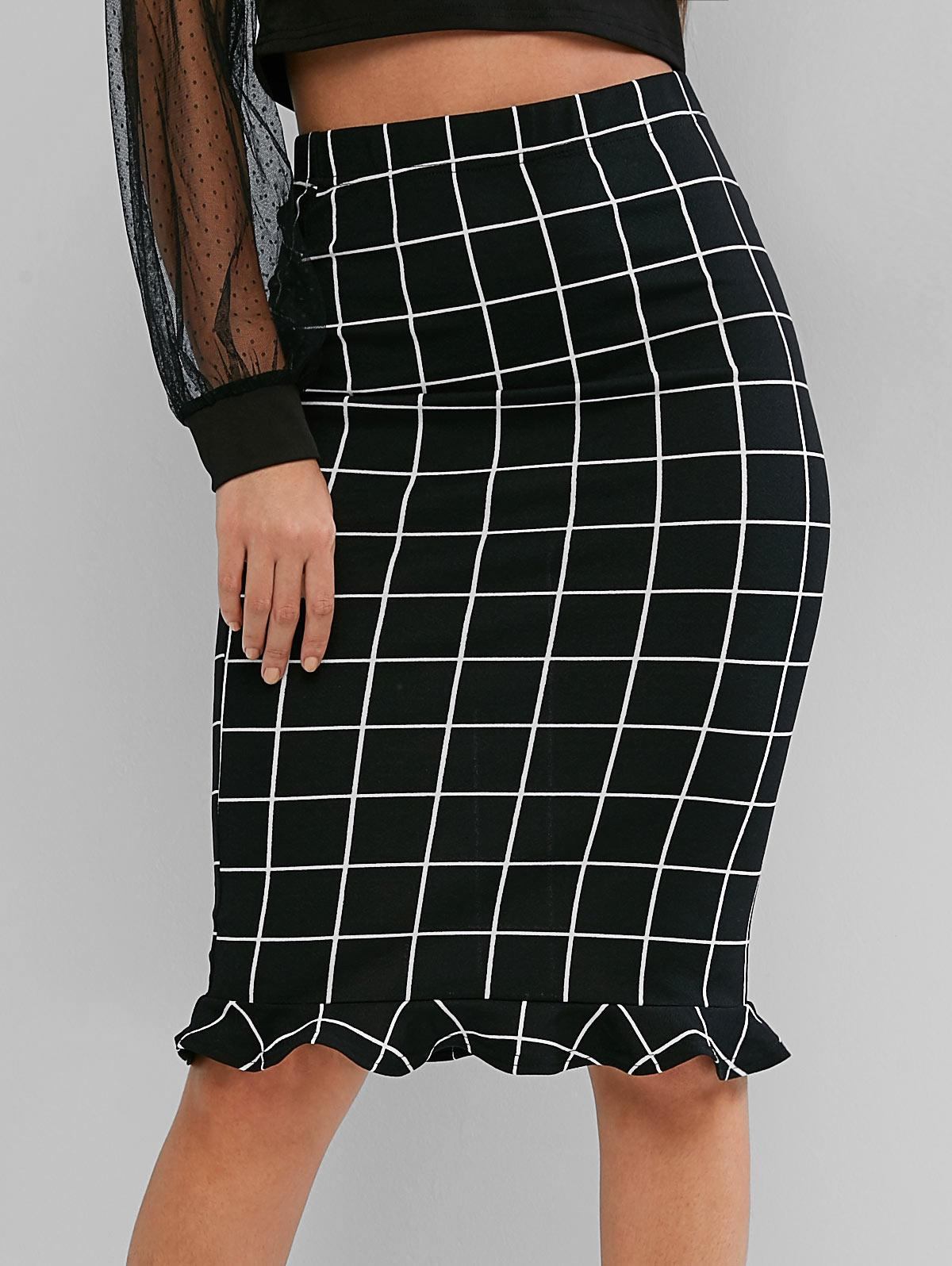 ZAFUL Grid Print High Waisted Ruffle Midi Bodycon Skirt, Black