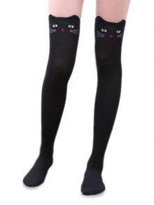 جوارب الركبة القط الباندا الكرتون أكثر - أسود
