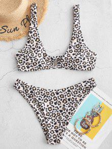 Leopard Front Closure High Cut Bikini Swimsuit