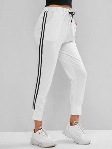 الرباط سروال شريط جيب عداء ببطء سروال - أبيض M