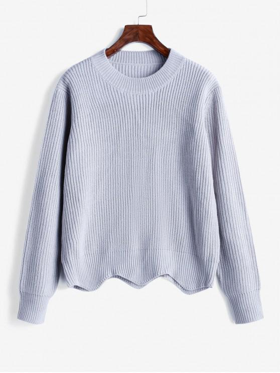affordable Crew Neck Textured Pullover Scalloped Sweater - GRAY CLOUD M