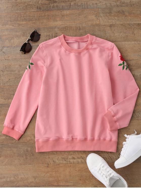 Sweatshirt brodé floral décontracté - Rose  L