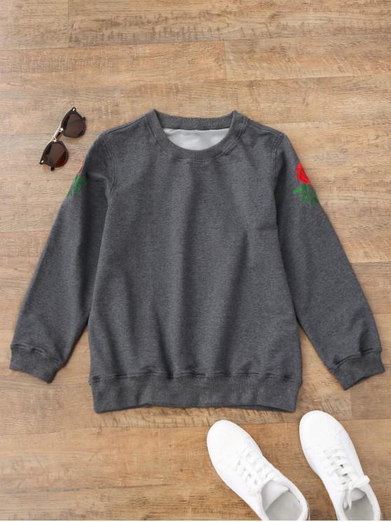 Sweatshirt brodé floral décontracté - Gris M