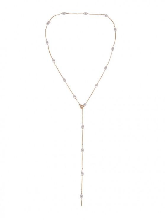 women's Simple Pearl Y Chain Necklace - GOLD