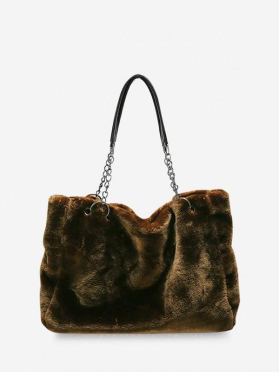 hot Plush Solid Chain Rectangle Handbag - DARK GOLDENROD