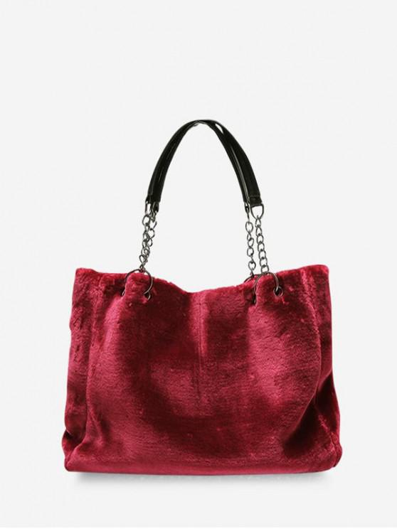 outfits Plush Solid Chain Rectangle Handbag - RED WINE