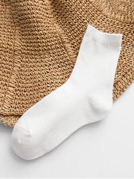 Chaussettes Rayées en Couleur Unie en Coton - Blanc