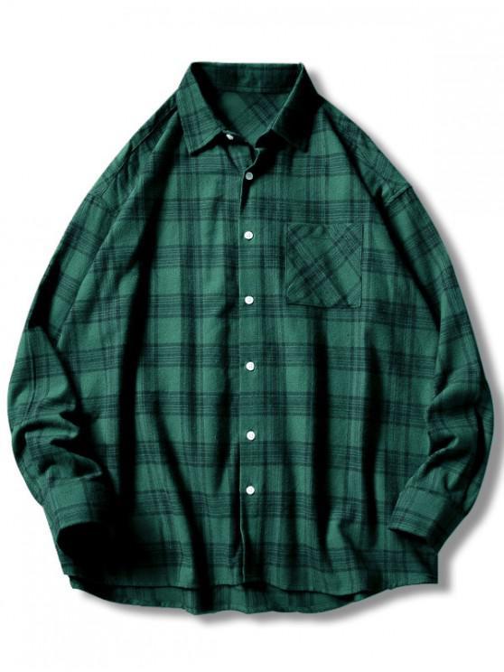 women Plaid Print Button Up Casual Pocket Shirt - GREEN M