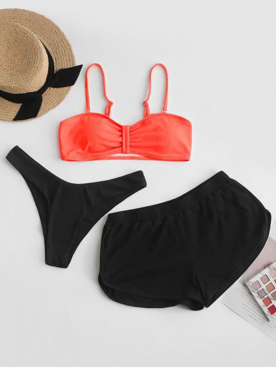 buy ZAFUL Ribbed Neon Three Piece High Cut Bikini Swimsuit - ORANGE M