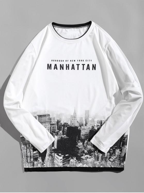 Camiseta de manga larga con diseño de arquitectura de Manhattan - Blanco L