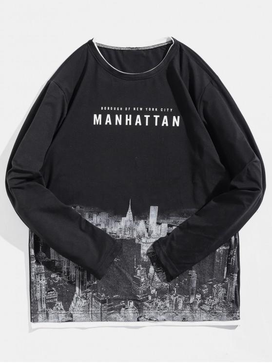 lady Long Sleeve Manhattan Architecture Pattern T-shirt - BLACK M