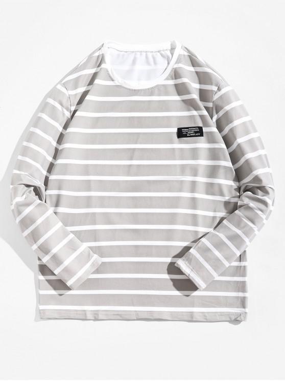 Camiseta Rayada Manga Larga Etiqueta - Gris Claro XL