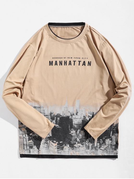 Camiseta de manga larga con diseño de arquitectura de Manhattan - Caqui S