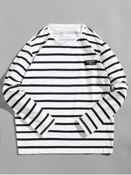women's Long Sleeve Striped Label Design T-shirt - WHITE L