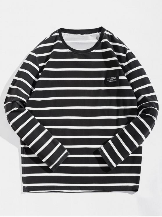 Camiseta de diseño de etiqueta a rayas de manga larga - Negro XS
