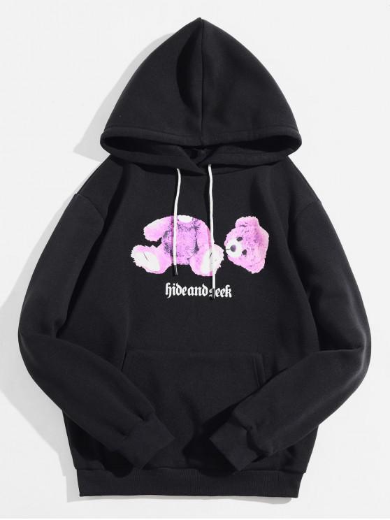 womens Bear Print Pocket Decoration Hoodie - BLACK S