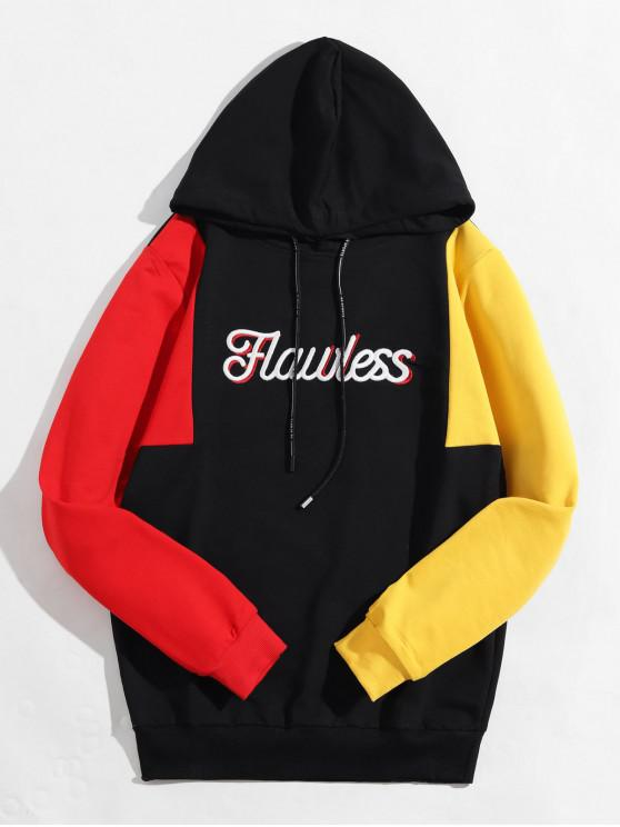 ladies Colorblock Spliced Letter Embroidery Drawstring Hoodie - BLACK M