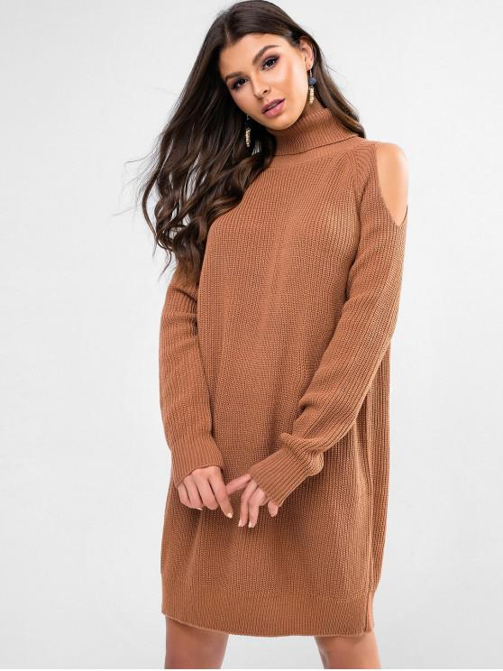 affordable Turtleneck Raglan Sleeve Sweater Dress - COFFEE L