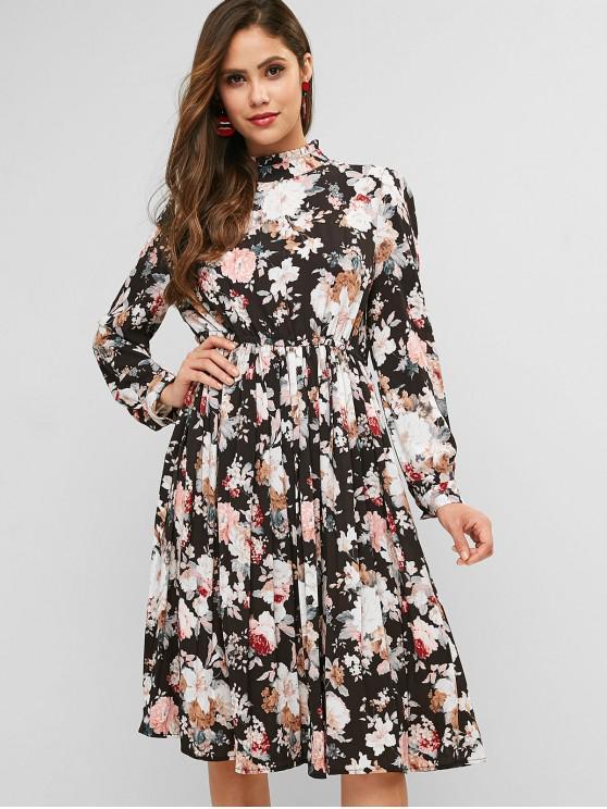 trendy Flower Mock Neck Keyhole Back Dress - MULTI M