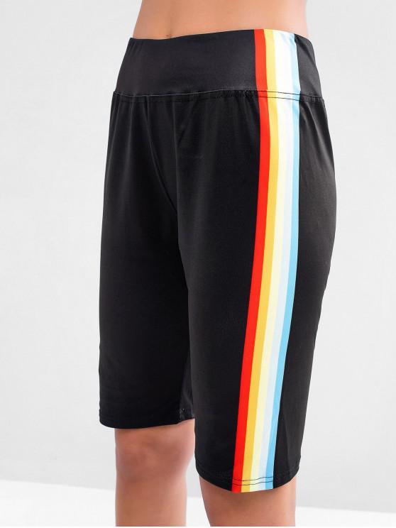 Shorts de motociclista de cintura alta con diseño del lado del arco iris - Negro L