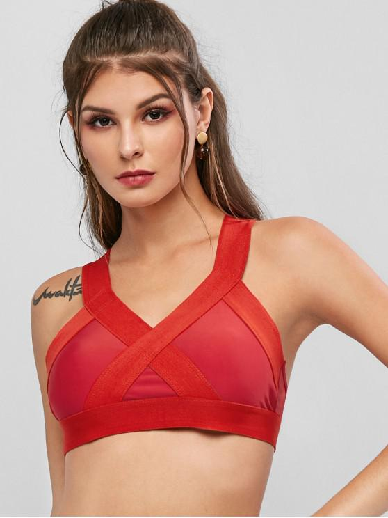 women's Bralette Criss Cross Sport Bra - LAVA RED XL