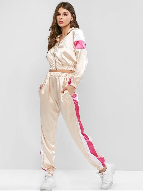buy Colorblock Crop Jacket and Jogger Pants Tracksuit - APRICOT XL