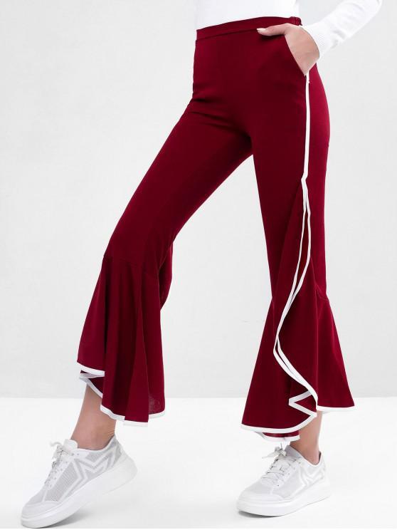 Pantalones acampanados de bolsillo con cintura alta - Rojo M