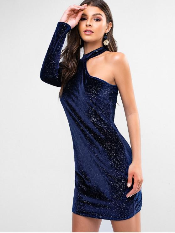 women's ZAFUL Sequins One Shoulder Velvet Club Dress - CADETBLUE L