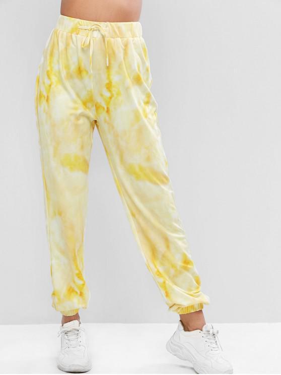 sale ZAFUL Tie Dye Drawstring Jogger Casual Pants - CORN YELLOW XL
