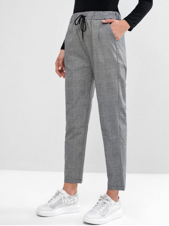 womens Drawstring Plaid Pockets Straight Pants - BLACK L