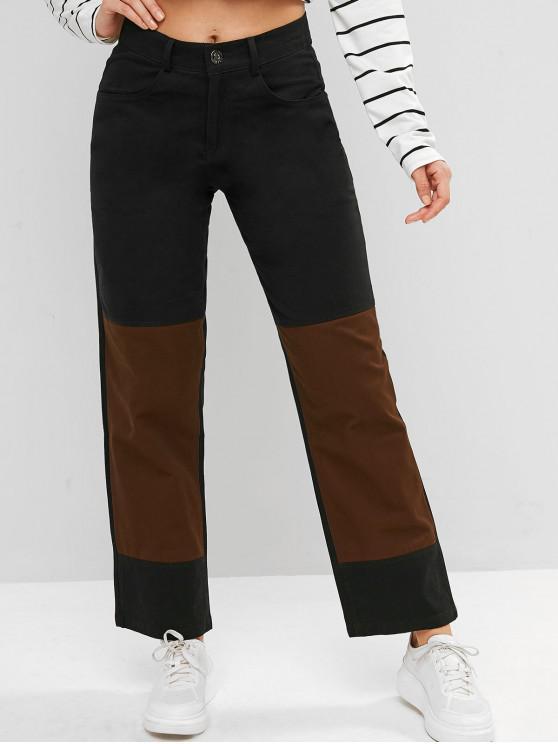 ladies Two Tone Zip Fly Pocket Chino Pants - BLACK XL