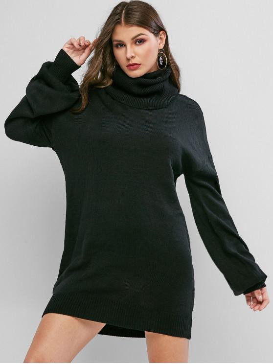 buy Turtleneck Drop Shoulder Mini Sweater Dress - BLACK S