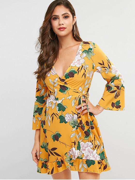 women's Flower Ruffle Wrap Mini Dress - MULTI L
