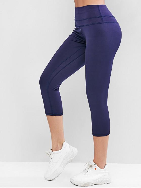 new Topstitching High Waisted Capri Leggings - CADETBLUE XL