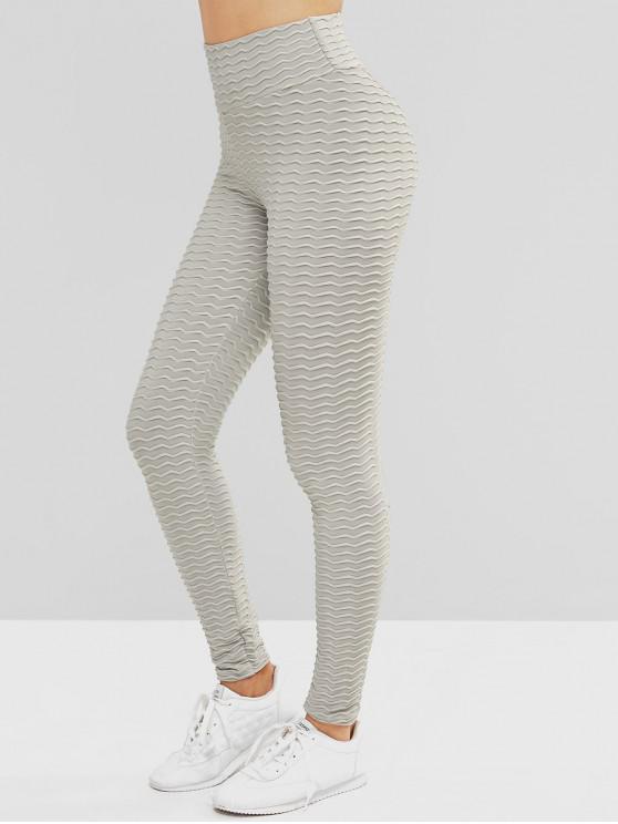 online Scrunch Butt Textured Solid Sports Leggings - GRAY M